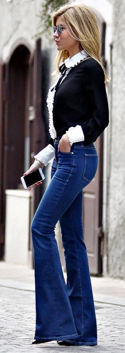 #bs0811 #street #style #fashion #inspiration | Black And White Girly + Denim Flares