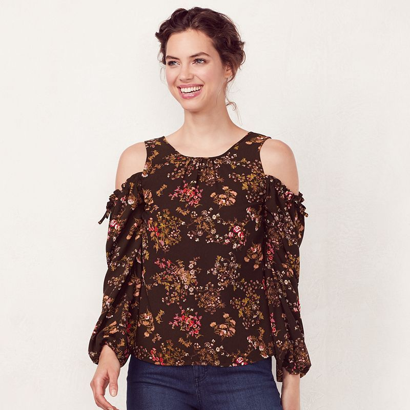 Very Cold Shoulder Printed Top - Green, Women
