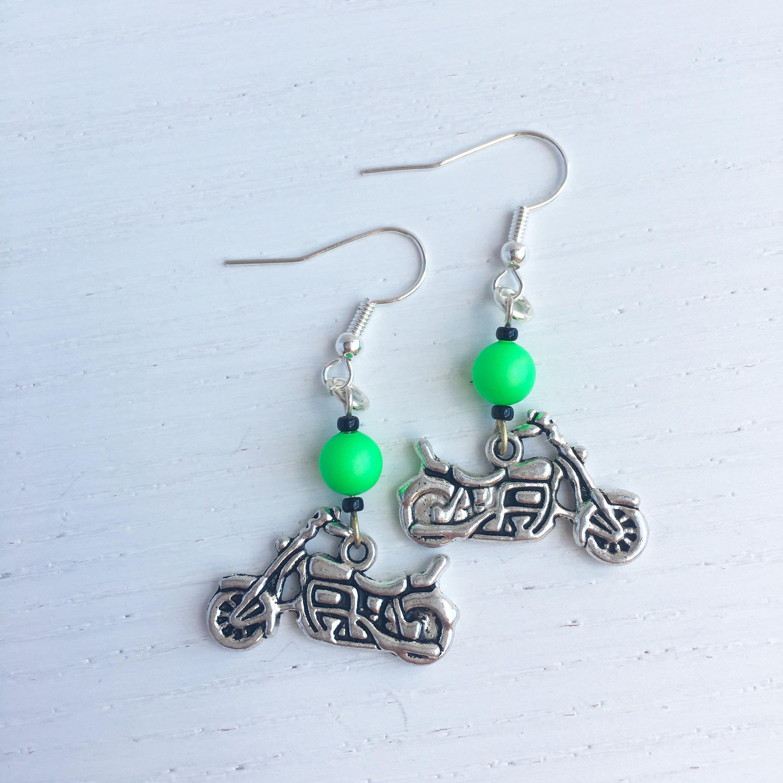 Motorbike Earrings, Motorcycle Earrings, Motorbike Jewelry, Motorcycle Gifts, Clip On Dangle, Biker Chick, Motorbike Gifts, Gift For Her by MadeByMissM on ...