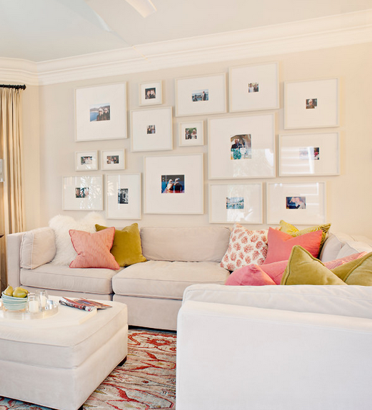 Big white frames + small color photos | creative walls | Pinterest ...