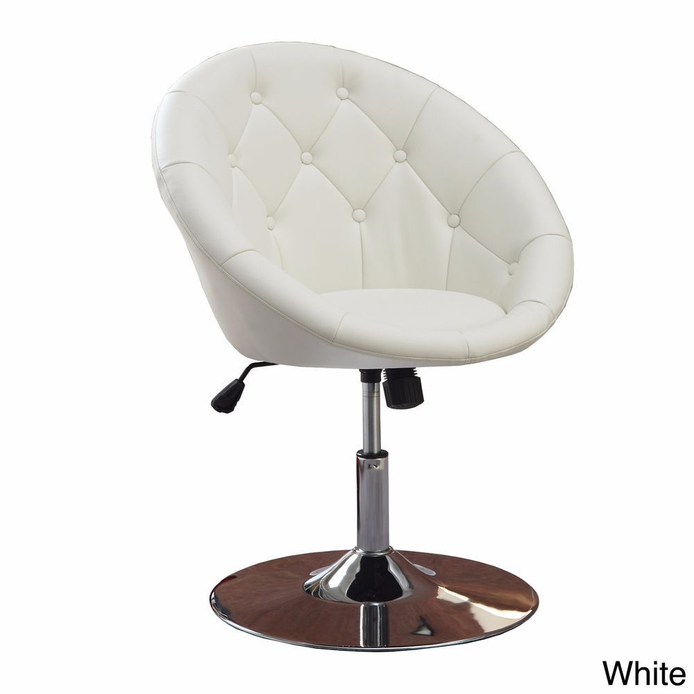 White Vanity Stool Swivel Chair Seat Bedroom Furniture Living Room Adjule