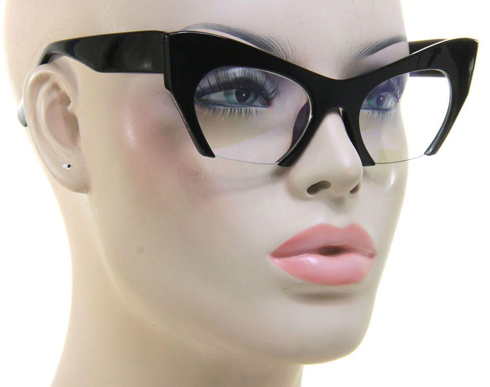 6d5833b1a612 Cat Eye Clear Lens Glasses Retro Vintage 60s Womens