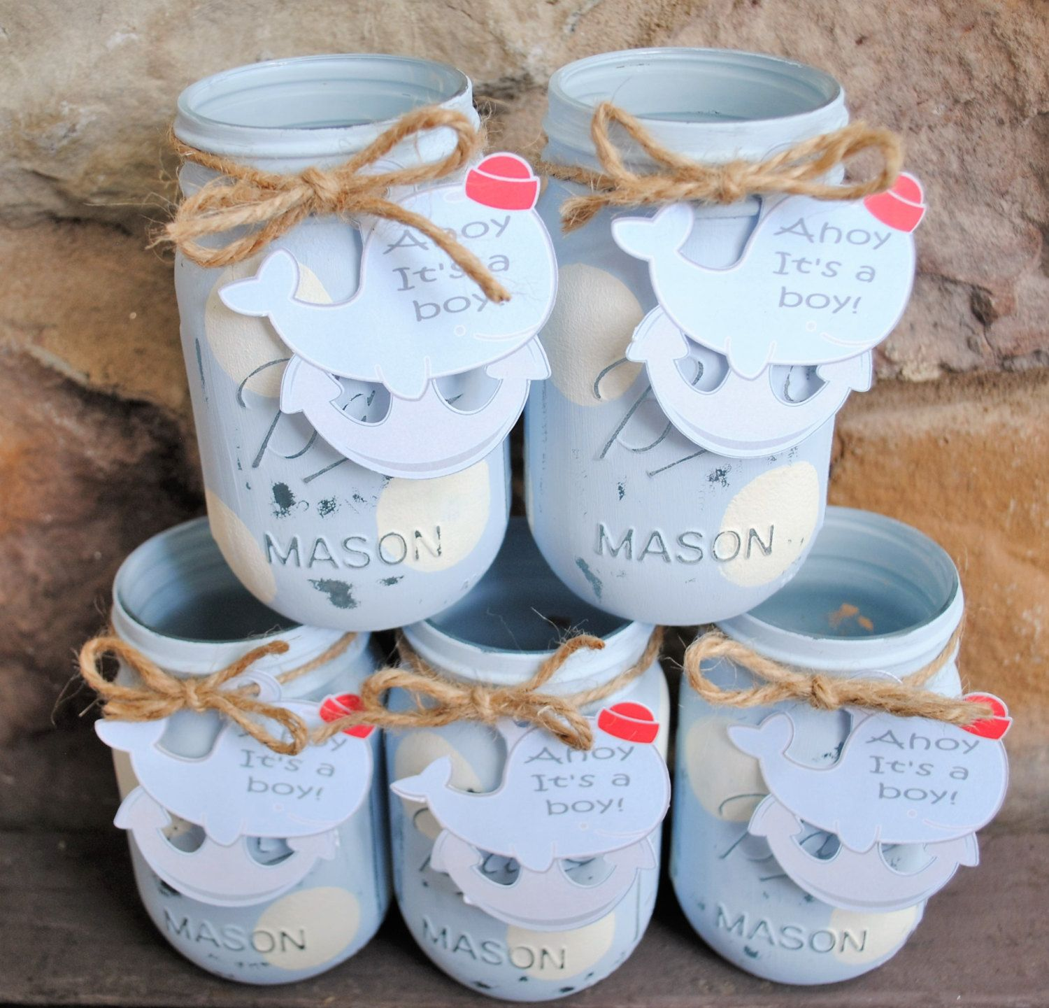 Painted Mason Jars with Personalized Whale Tag Ahoy It s a Boy