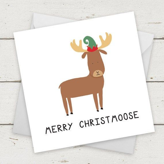 Christmas Card Moose Merry Christmoose - Card for Girlfriend - Card for Boyfriend - Celebration Cards - Xmas card - Funny Christmas Card #christmasgiftsforboyfriend