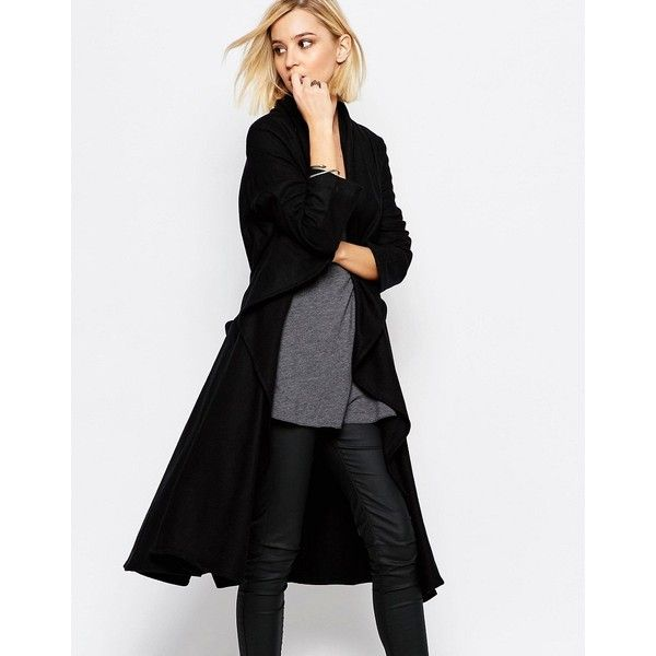 Religion Freedom Black Wool Coat (215 CAD) ❤ liked on Polyvore featuring outerwear, coats, black, tall coats, woolen coat, wool coat, waterfall coat and religion clothing