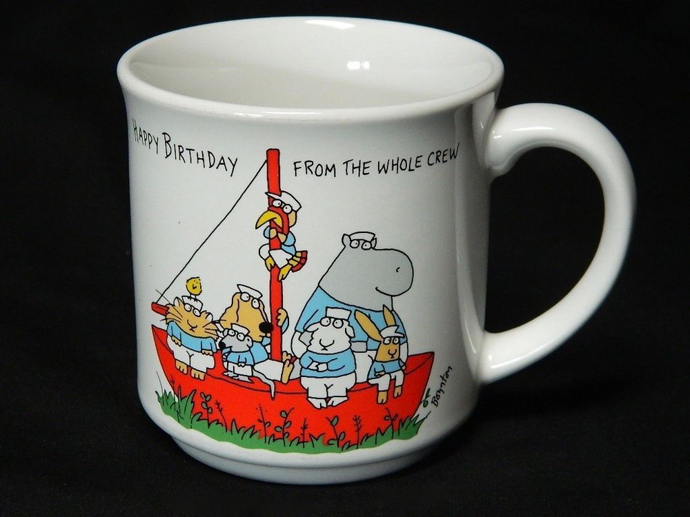 Sandra Boynton Coffee Mug Hy Birthday From The Whole Crew Ship Boat Cup An