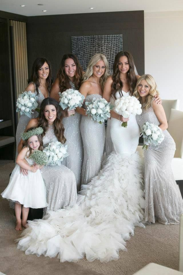 Silver And White Wedding Party