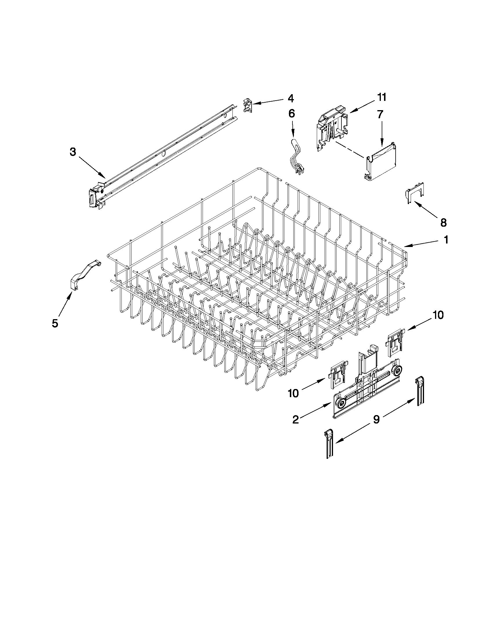 Upper Rack And Track Parts Diagram Parts List For Model 66513042k110 Kenmore Parts Dishwasher Parts Searspartsdirect Dishwasher Parts Kenmore Dishwasher