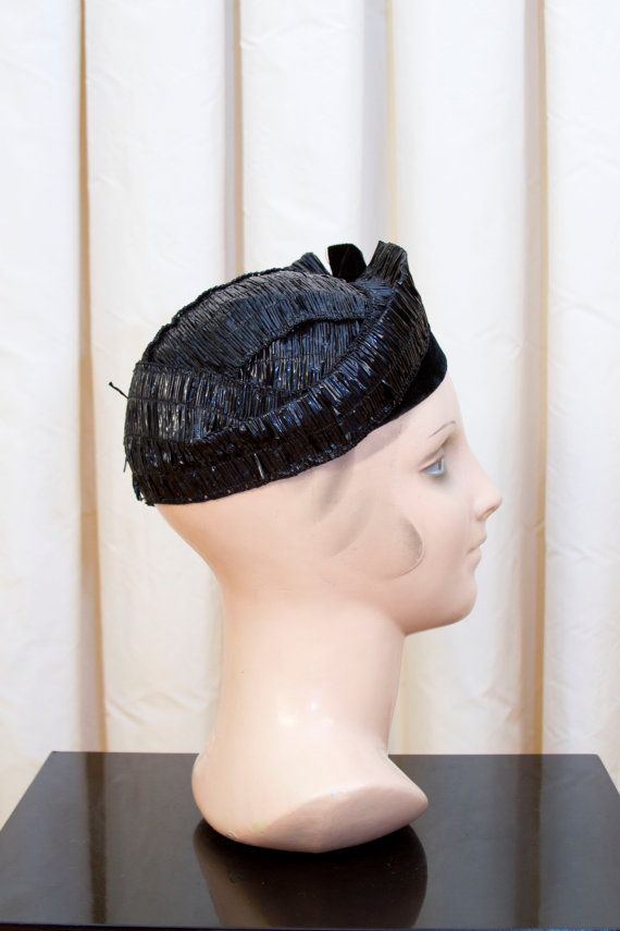 1930's Hat // Black Cellophane Tilt Hat by GarbOhVintage on Etsy