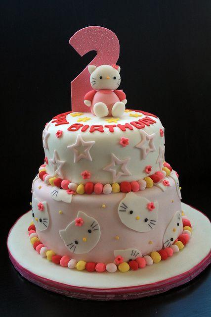Groovy Hello Kitty 2Nd Birthday Cake Funny Birthday Cards Online Fluifree Goldxyz