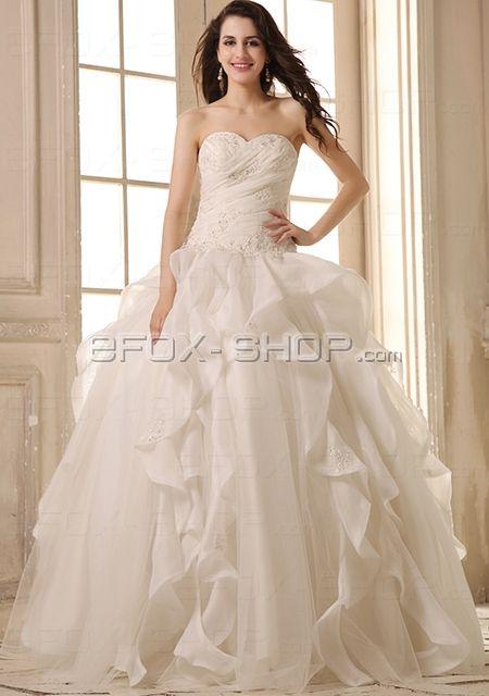 A-Form Hochzeit Brautkleid mit Stickerei -Volant Design