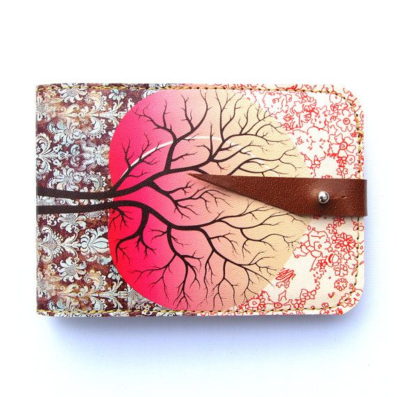 Leather card case/ Oyster card holder  Peach tree by tovicorrie, $39.00