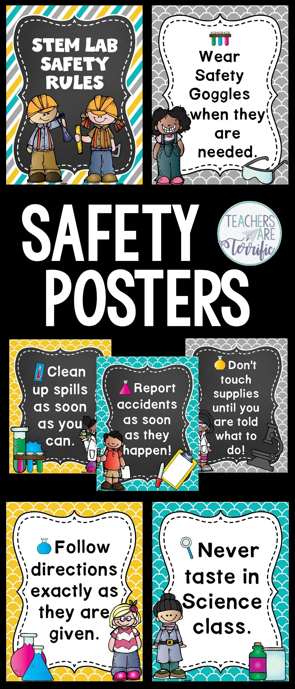 Science Safety Rules Posters In Teal Yellow And Gray