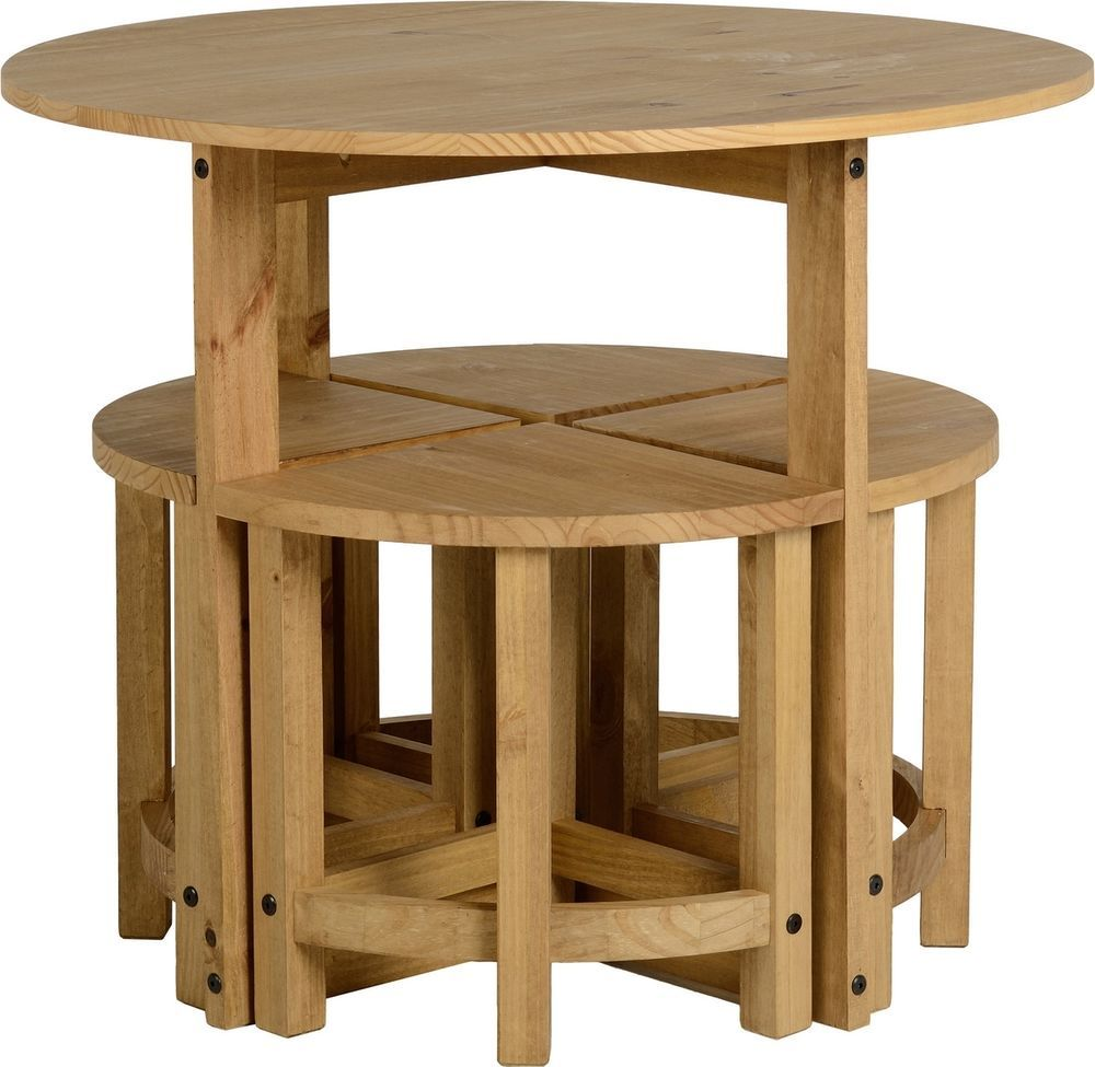 Corona stowaway dining set mexican solid pine 4 stools for Round space saving dining table and chairs