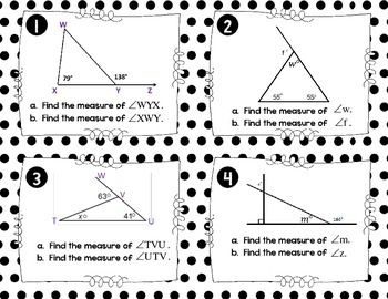 Exterior Angle Theorem Task Cards Exterior Angles Task Cards Text Features Worksheet