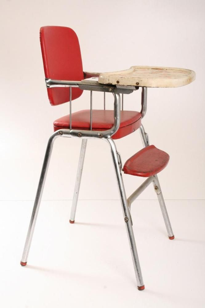 Superior Vtg RED COSCO HIGH CHAIR Baby Seat Vinyl Retro Steel Mid Century Modern  50s/60s