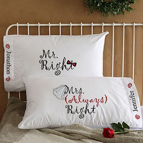 Mr Mrs Right Personalized Wedding Pillowcases Gifts