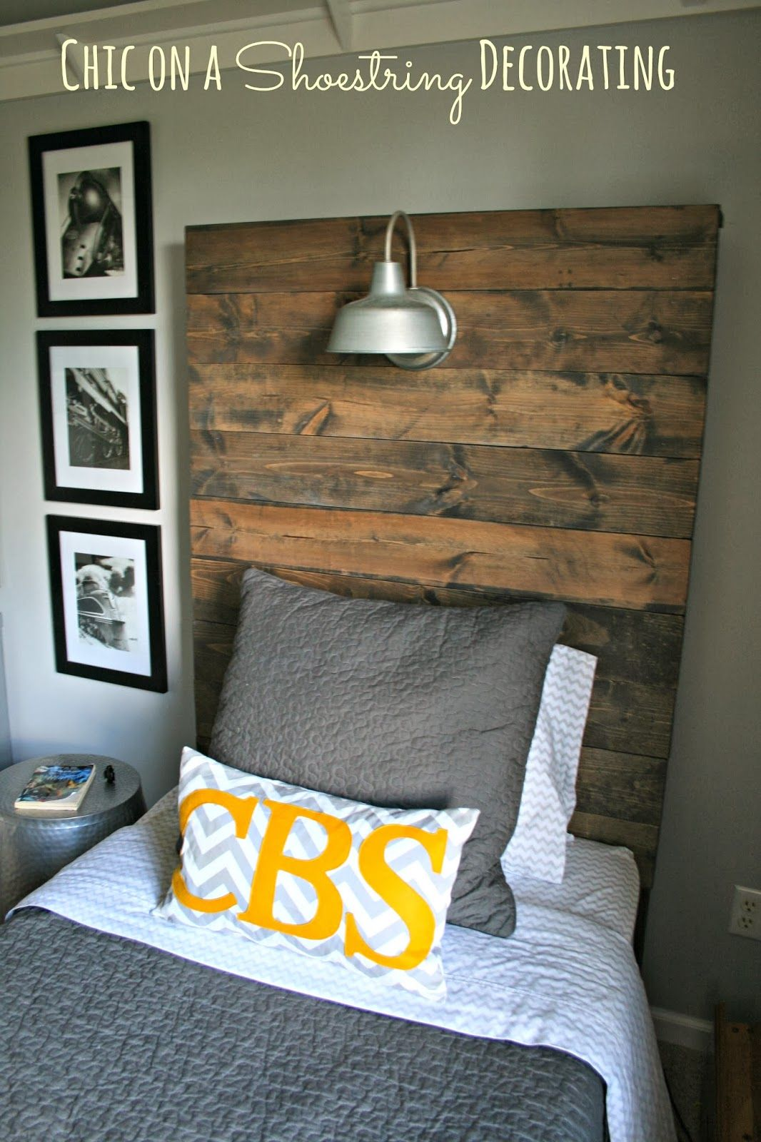 How To Build A Rustic Wooden Headboard With An Attached Light Fixture Tutorial By Chic On Shoestring Decorating