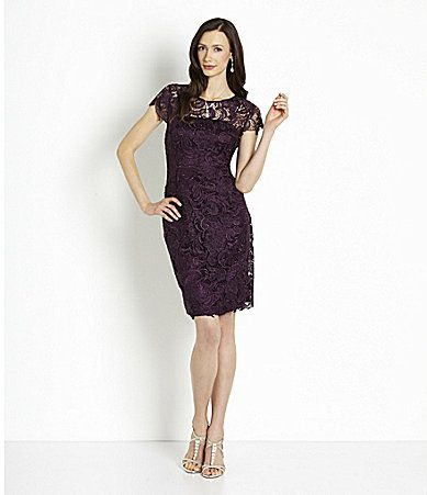 Patra crocheted venise lace sheath dress