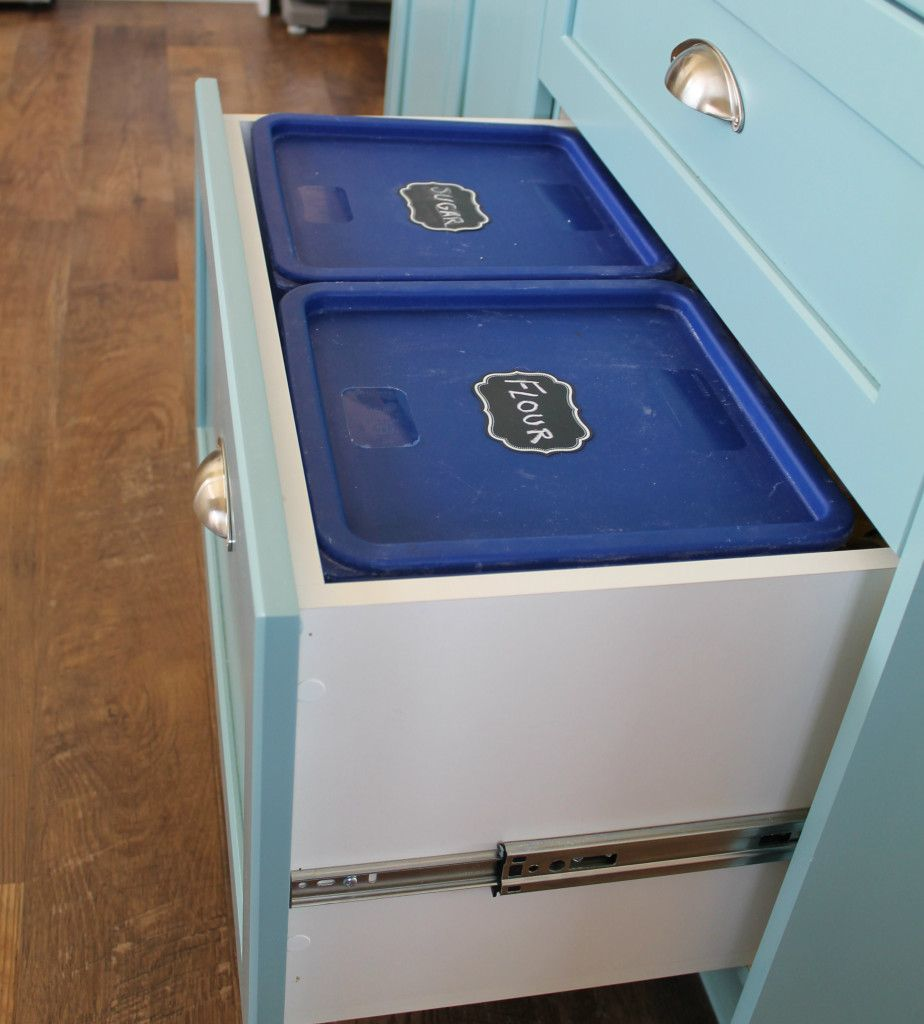 Moths In Kitchen Cabinets: Flour Sugar Drawer. [I Like This Idea, With Containers