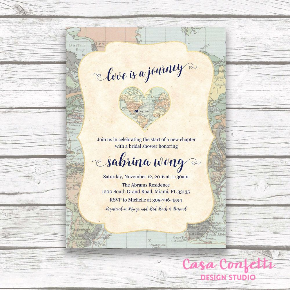 Map Travel Bridal Shower Invitation Love Is A Journey Adventure Awaits Invite Destination Wedding Printable By CasaConfetti