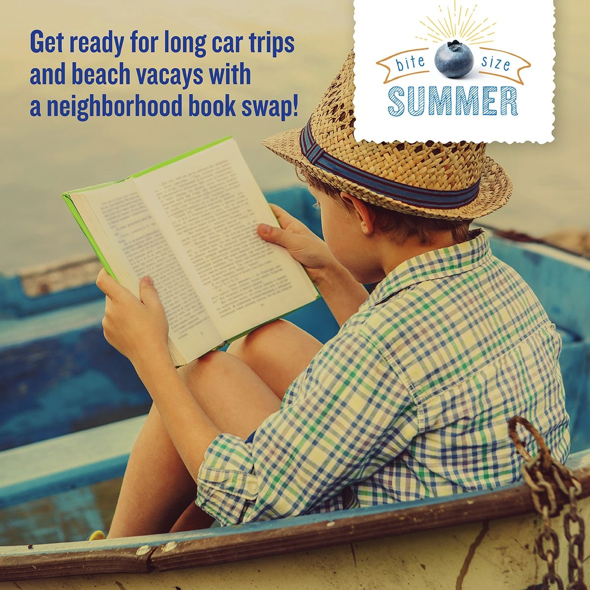 Take turns reading aloud on long road trips. Bonus: try out fun accents and see who giggles first! Bite Size summer moments like this are unforgettable.