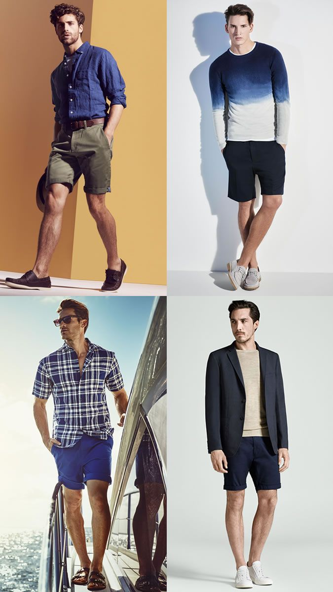 17fff95dbf55 Chino Shorts with Boat Shoes Suede Loafers Leather Sandals Suede Boots for Summer  Outfits Lookbook Inspiration
