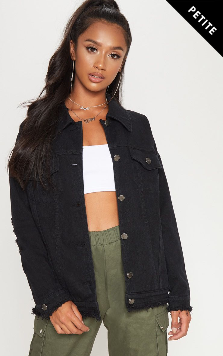Petite Light Wash Distressed Oversized Denim Jacket Petite Denim Jacket Denim Jacket Jean Jacket Outfits
