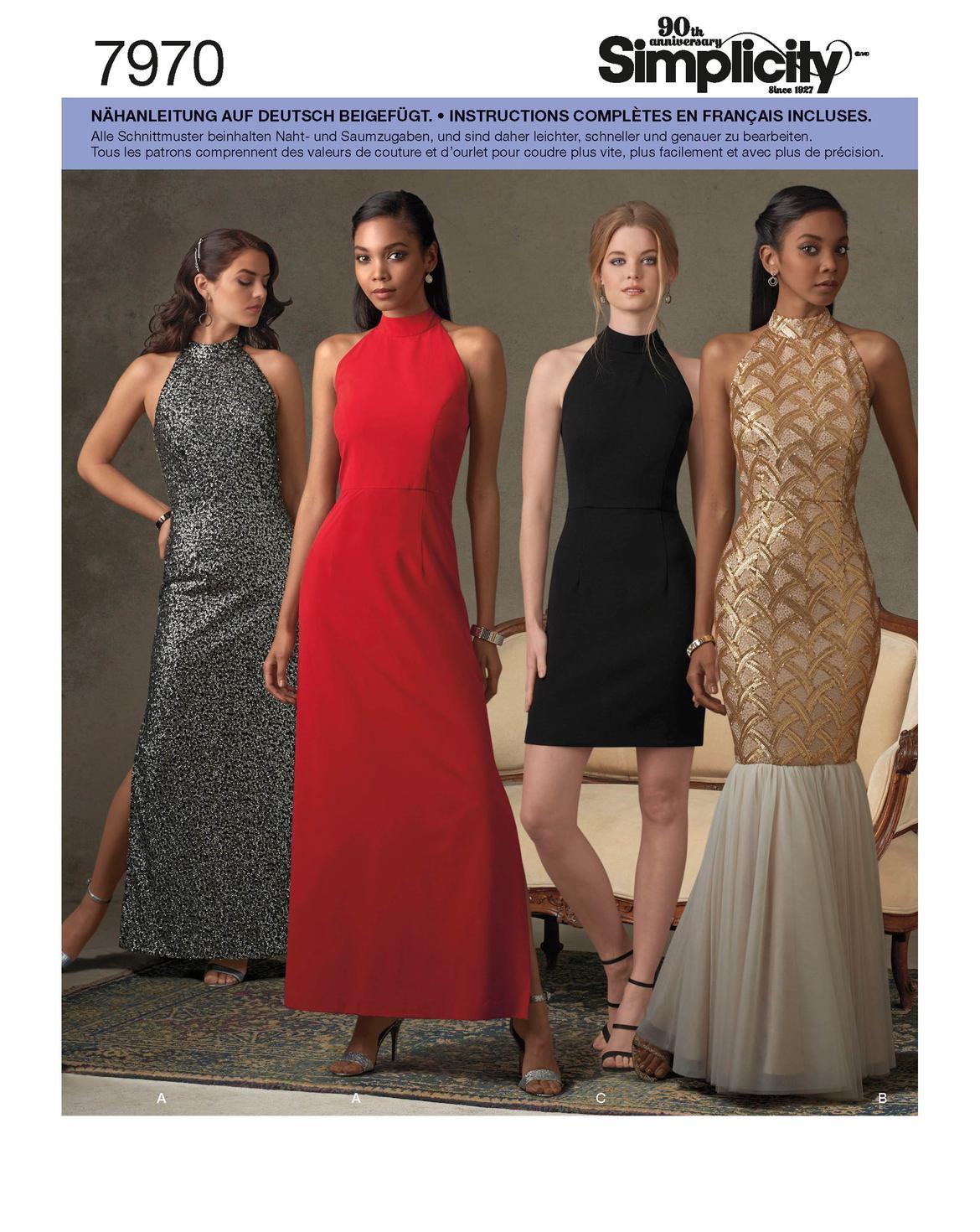 Feminine, festliche Kleider in unterschiedlicher Form