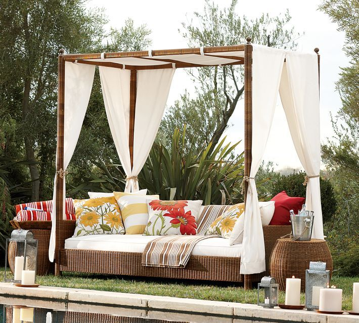 Romantic Outdoor Canopy Beds With White Curtain Canopy For Interesting And Wonderful Romantic Canopy Decorating Inspiring Ideas & Backyard escape. | Dream Home | Pinterest | Daybeds Backyard and ...