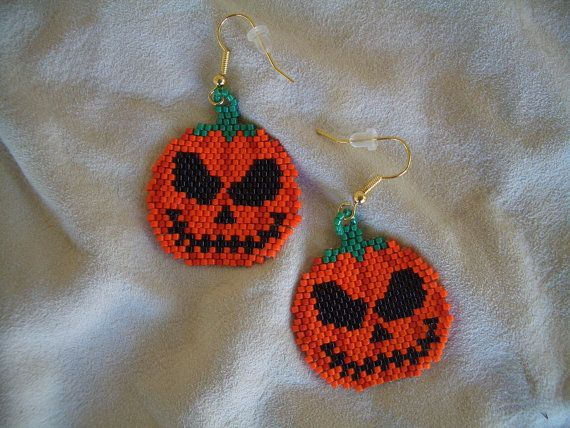 Halloween jack-o-lantern earrings pumpkin by OneFeatherBeading