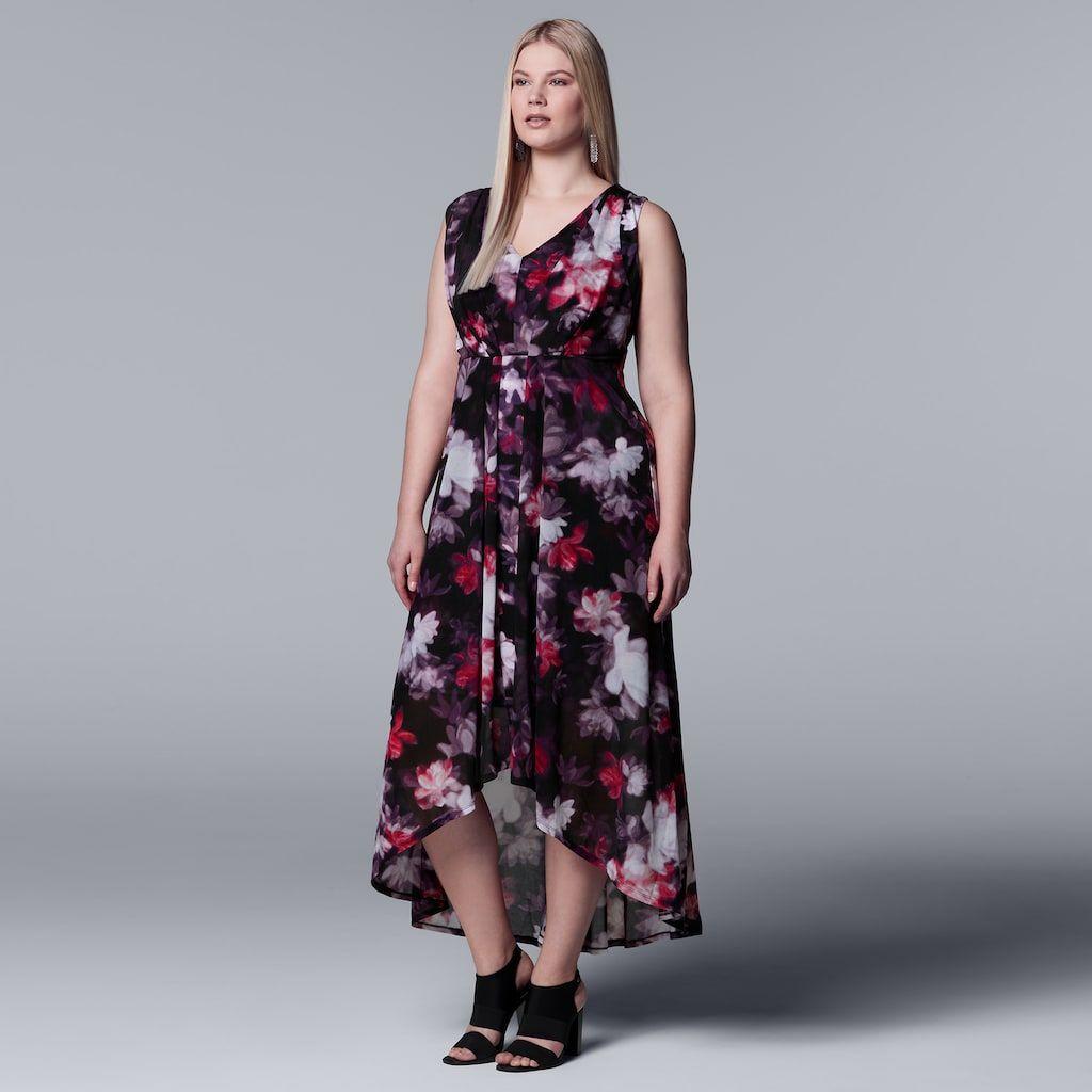 Plus Size Simply Vera Vera Wang Pleated High-Low Maxi Dress ...