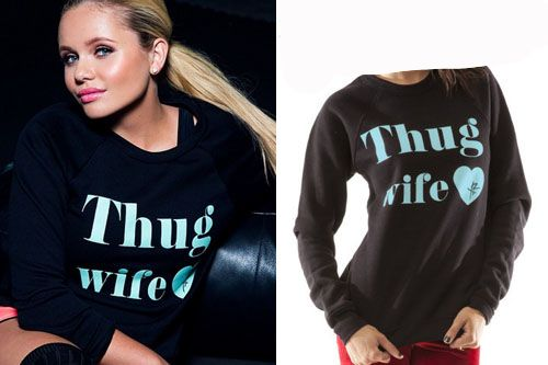Alli posted a picture on Instagram (April 17, 2014) wearing a Young&Reckless Thug Wife Sweatshirt ($52.00).
