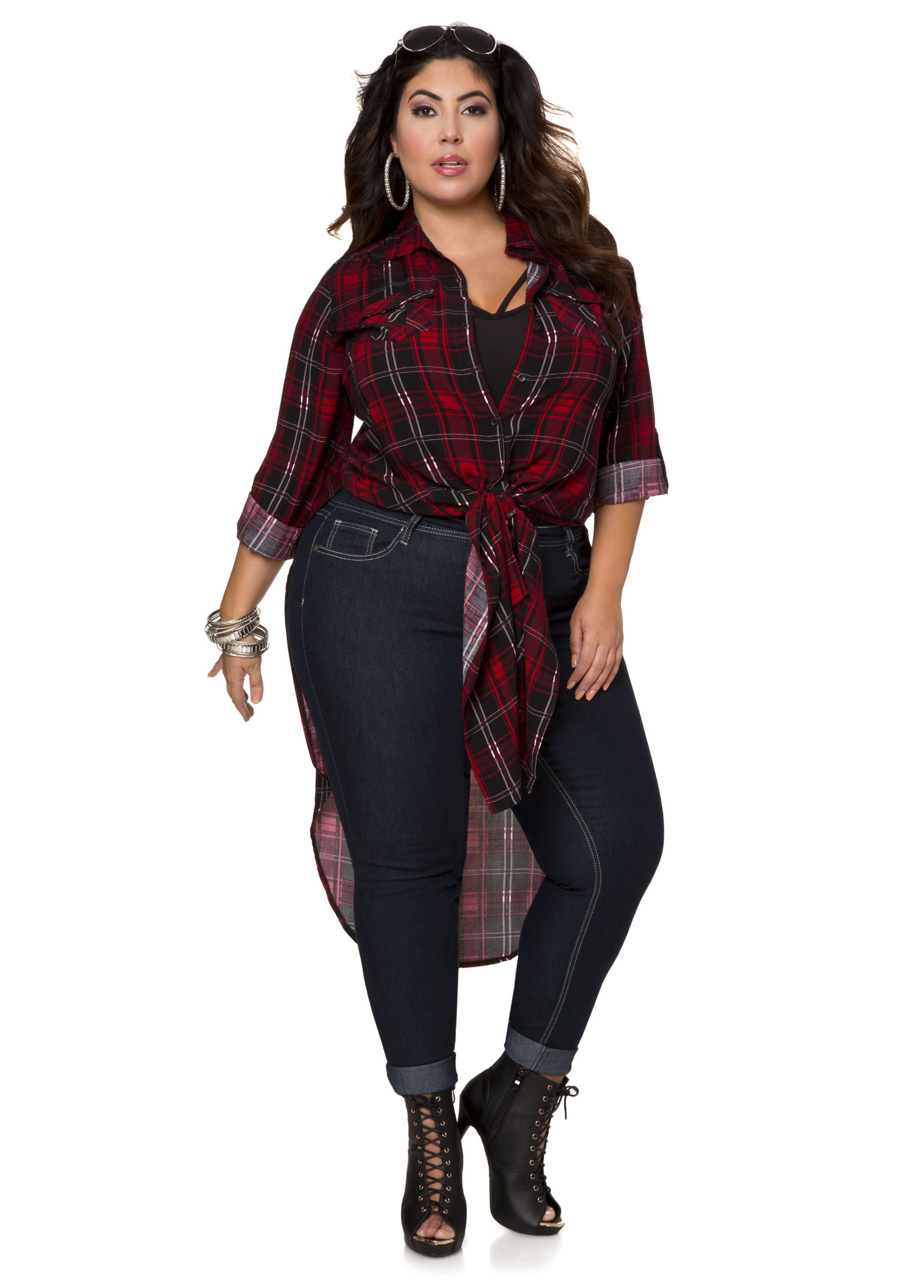 24d08c031d2 Three-Quarter Sleeve Plaid Duster - Ashley Stewart