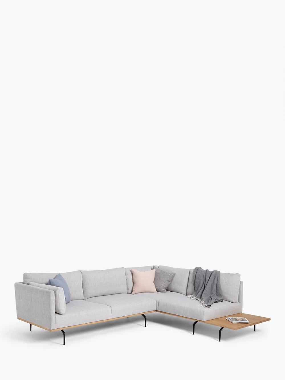 John Lewis Partners Platform Rhf Corner End Sofa With Table Metal Leg Hope Grey In 2020 Sofa John Lewis Furniture