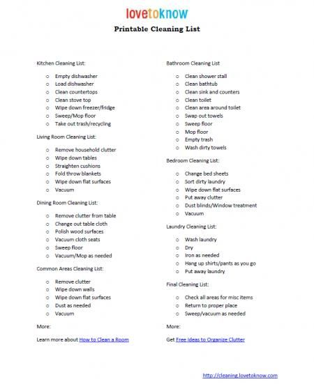 Printable Checklist For House Cleaning - Never Hurts To Dream That