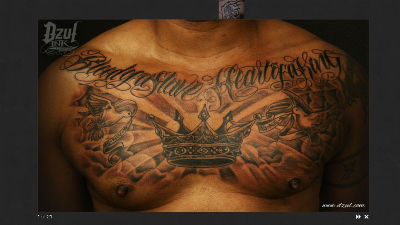 Crown Chest Tattoo Men