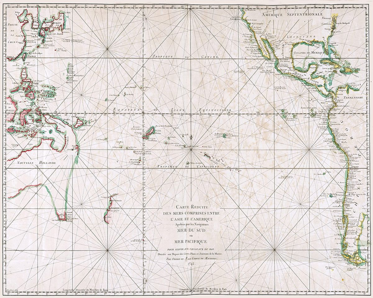 Antique Pacific Ocean Map Nautical Poster Printable Wall Decor Gifts Large Old Digital Print Travel Art Vintage