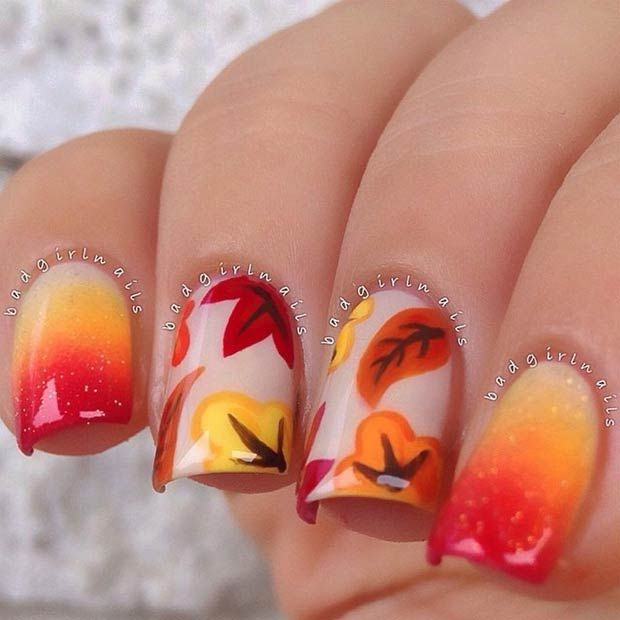 Diy Autumn Gradient Nail Art: Gradient Fall Nail Design