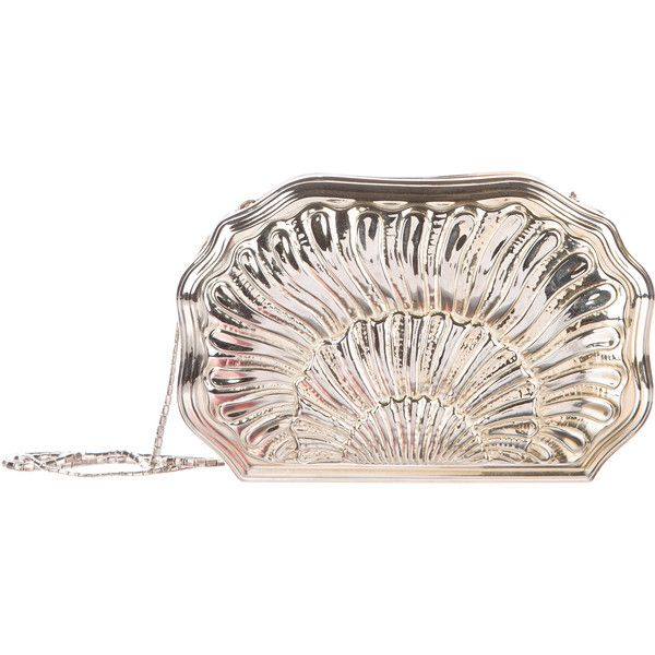 Pre-owned Judith Leiber Carved Metal Evening Bag (€220) ❤ liked on Polyvore featuring bags, handbags, gold, pink evening bag, pink handbags, metal purse, pink purse and snake purse