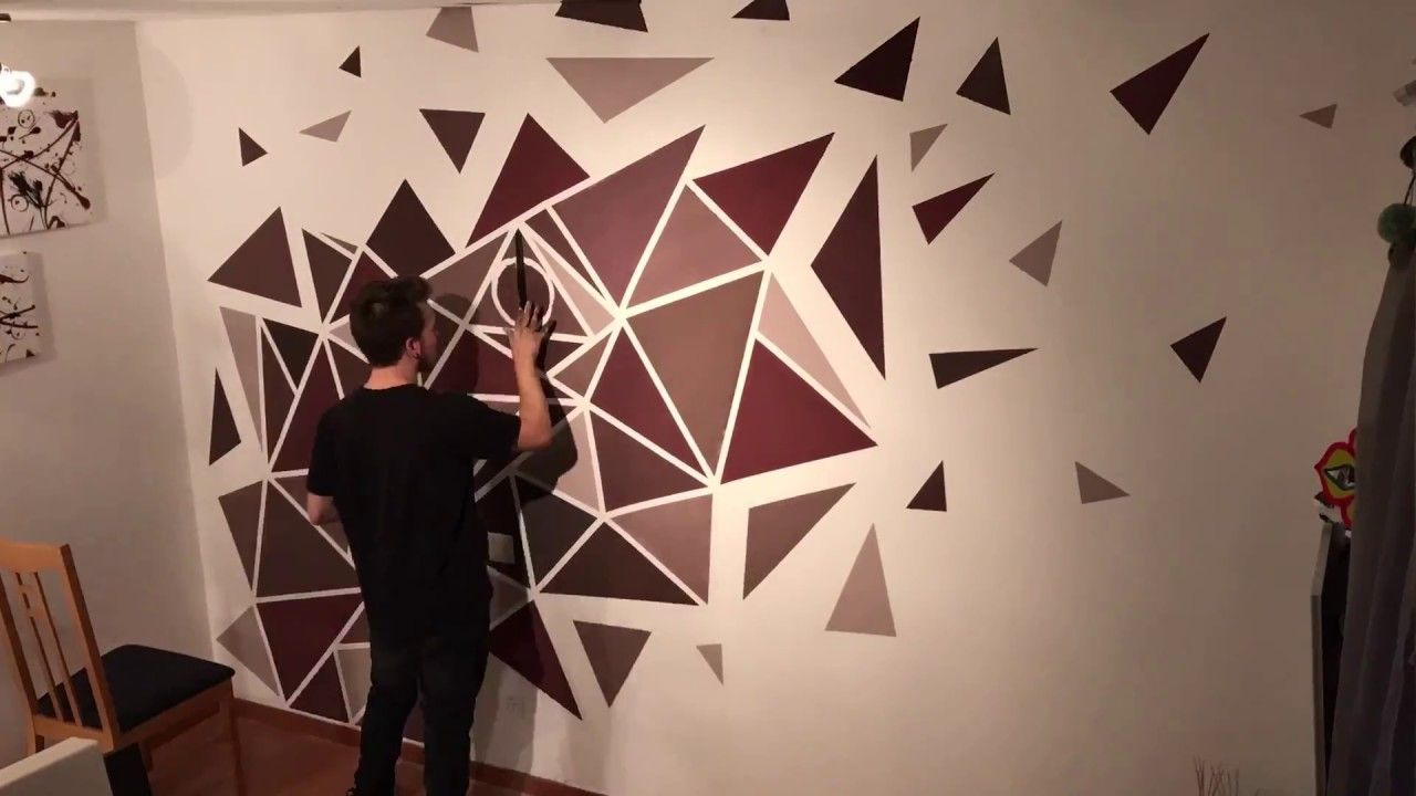 How To Paint A Perfect Geometric Wall Easy Painting Youtube