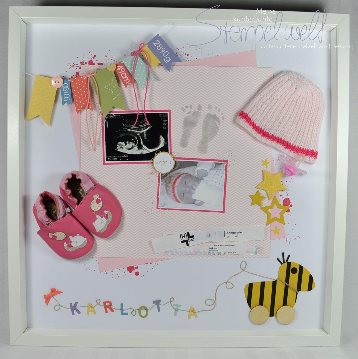 Baby Shadow Box Karlotta | Baby shadowbox, Rahmen und Stampin