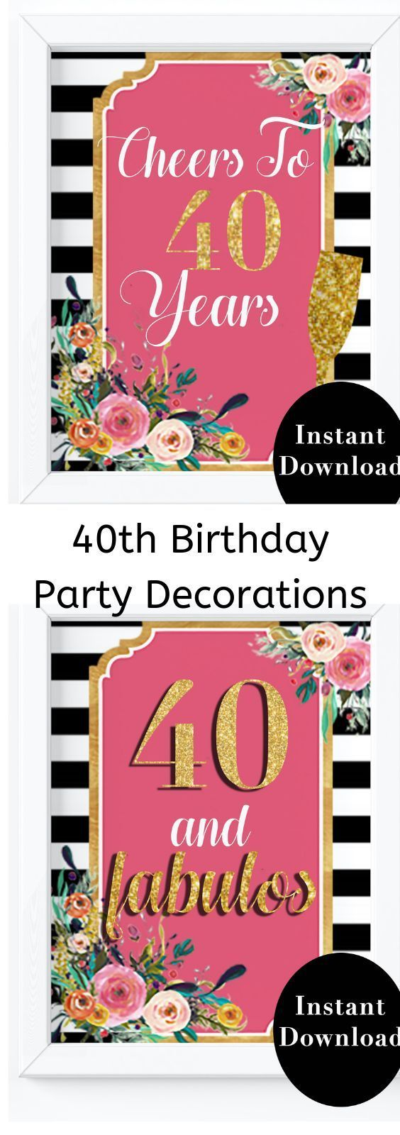 40th Birthday Party Decorations- 40 and Fabulous Birthday Sign #50thbirthdaypartydecorations