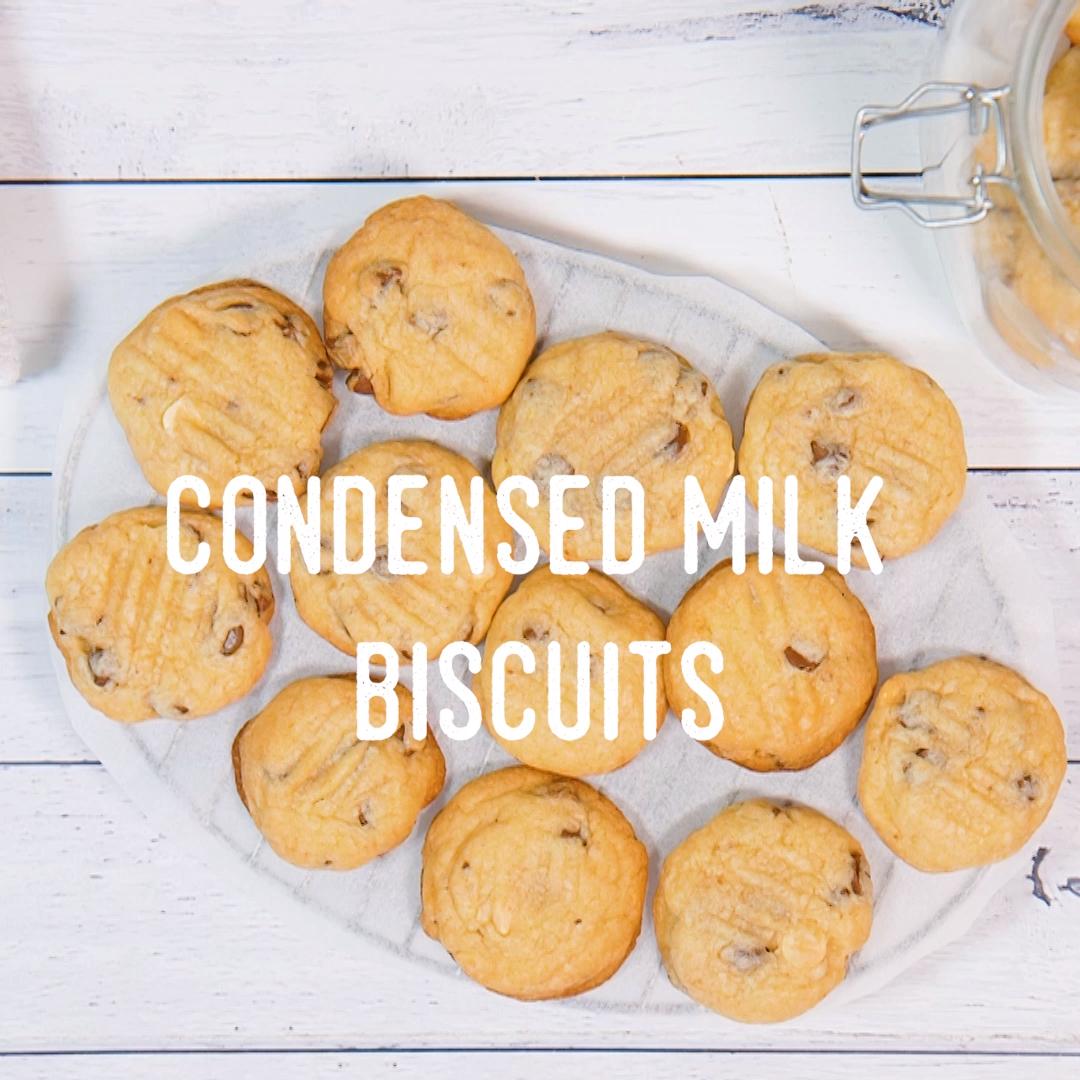 Condensed Milk Biscuits Video Recipe Video Cookie Recipes Condensed Milk Easy Biscuit Recipe Milk Recipes