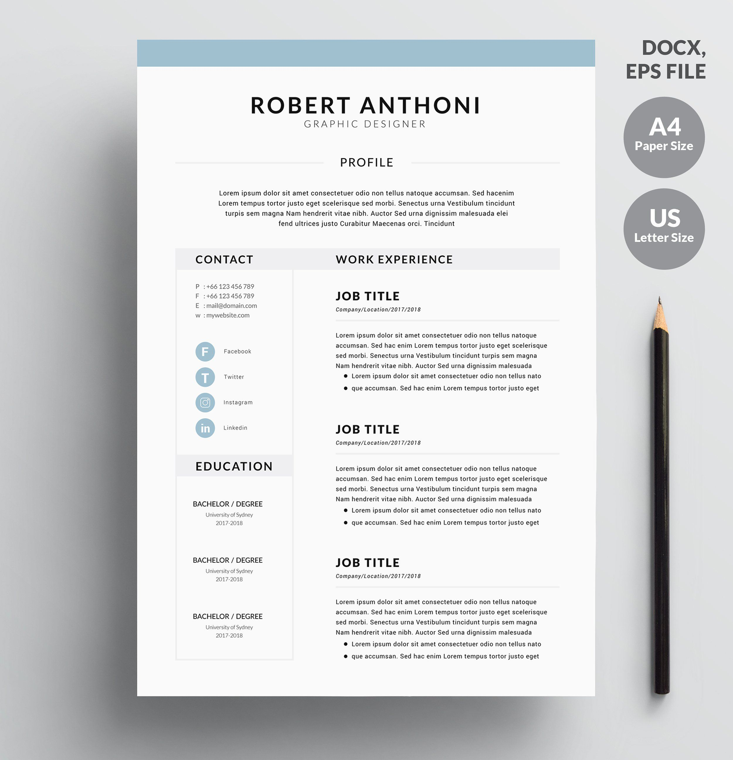 4 Page Resume CV Template For Word Make A Good And Creative First Impression With This Fully Editable Which Is Ready To Print