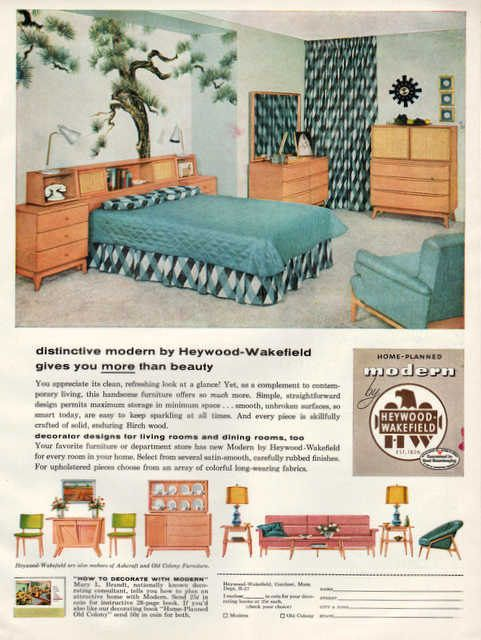 two vintage heywood wakefield furniture print ads by vividiom 8 00 rh pinterest com