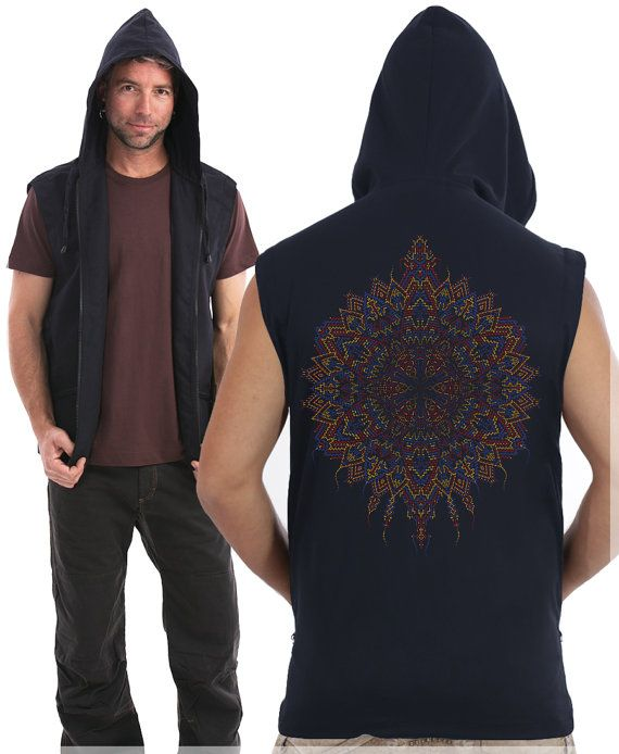 Men Hood Vest, Mandala, Hooded Vest, Psy, Psychedelic, Festival Vest, Burning Man Clothing, Visionary Art, SOL