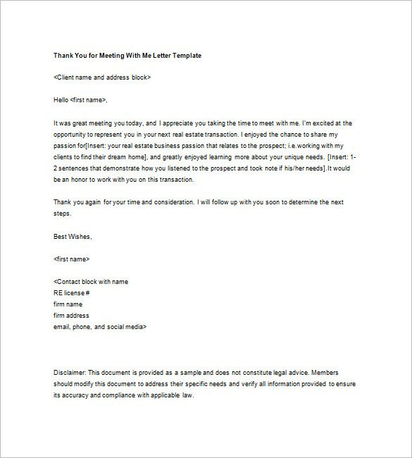 Real Estate Thank You Letter   Free Sample Example Format