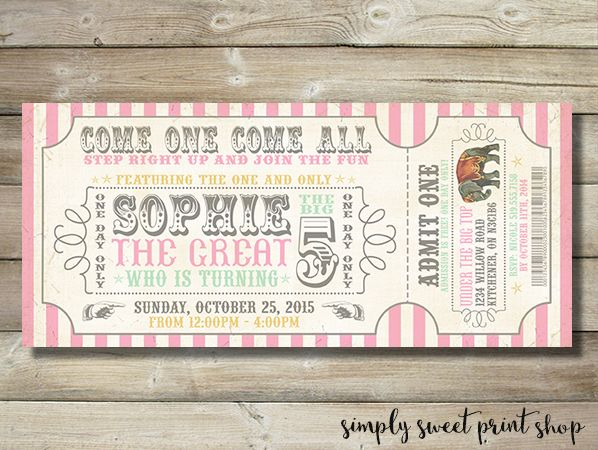 Vintage Girl Circus Invite Invitation Carnival Country Fair Pink - admit one ticket template