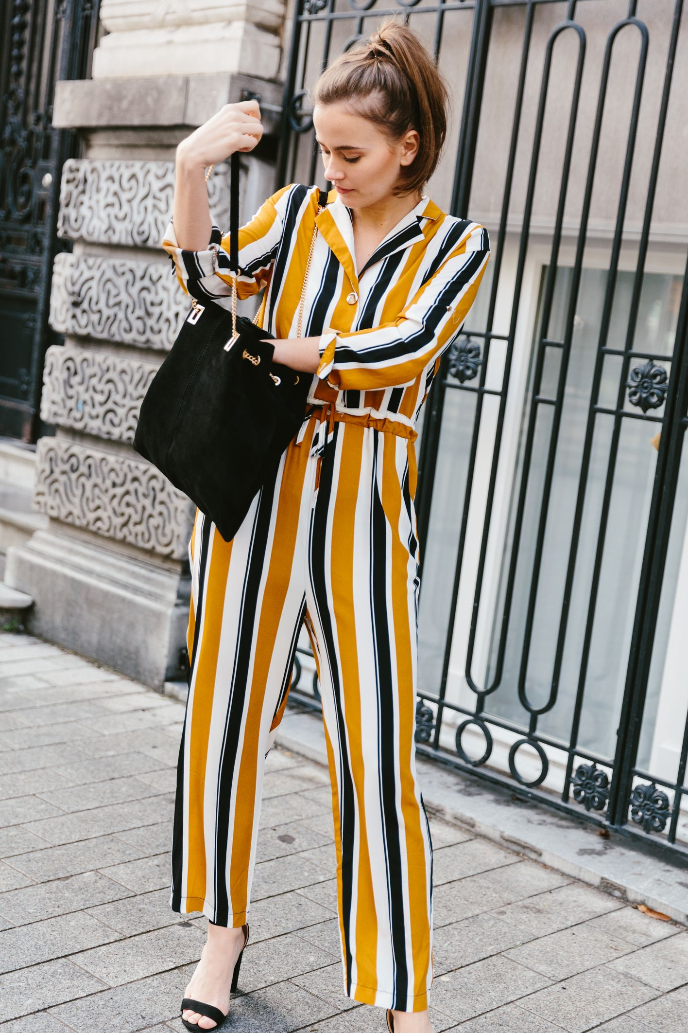 TRENDSof the season: the culotte jumpsuit. #culottes #jumpsuit #stripes #streetstyle #fashiontrends
